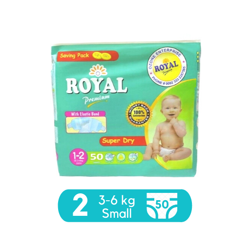 Royal Baby Dry Diapers (Premium) – Small Size 2 – 50 Pcs