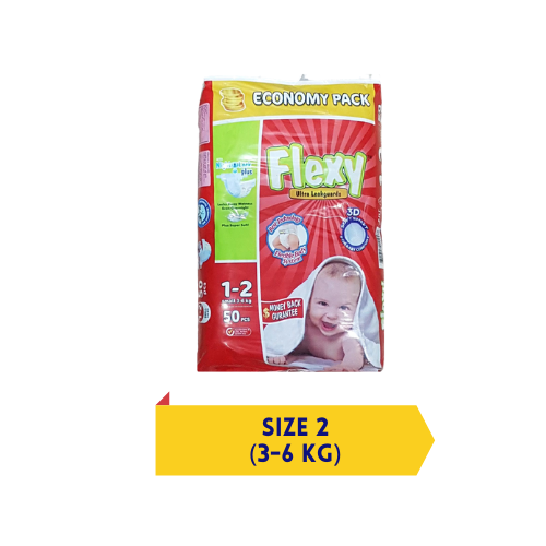 Flexy baby diapers – 3D Soft – Small Size 2 – 50 Pcs