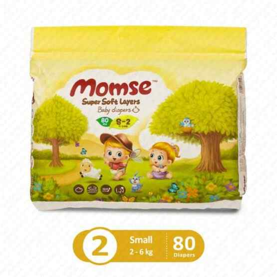 Momse Diapers Mega Pack Small Size 2 – 80 Pcs