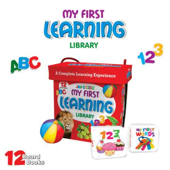 My First Library : Box set of 12 Board Books for Kids – 123 – ABC – Birds – Fruits – Shapes – Colors – Transport – Body Parts – Vegetables – Wild Animals – Farm Animals – My First Words.