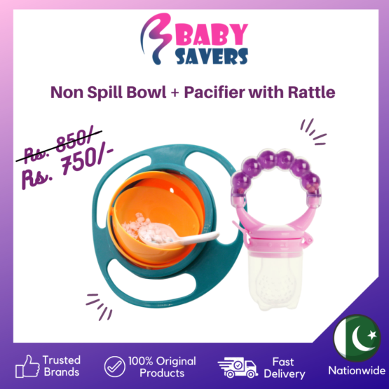 Non-Spill Gyro Bowl + Fruit Pacifier with Rattle Bundle – Pack of 2