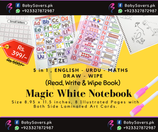 Magic Notebook White book Ideodle – Erasable Learning Book – Read, Write n Wipe