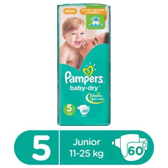 Pampers Mega Pack Baby Dry Diapers XLarge Size 5 (60 Pcs)