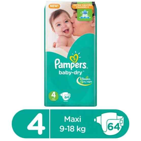 Pampers Mega Pack Baby Dry Diapers Large Size 4 (64 Pcs)