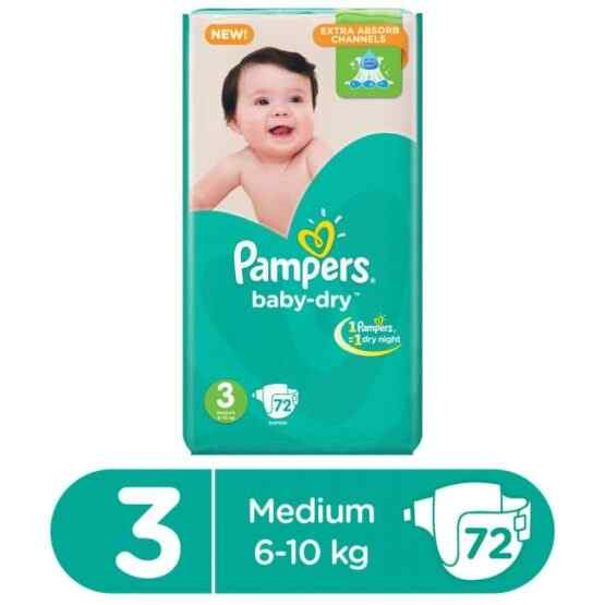 Pampers Mega Pack Baby Dry Diapers Medium Size 3 (72 Pcs)