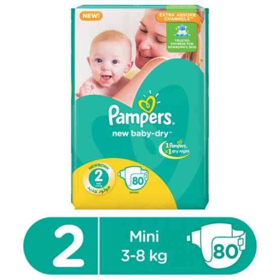 Pampers Mega Pack Baby Dry Diapers Small Size 2 (80 Pcs)