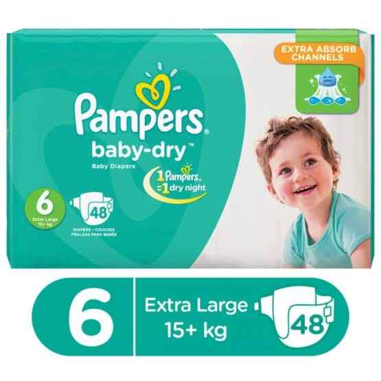 Pampers Mega Pack Baby Dry Diapers XX Large Size 6 (48 Pcs)
