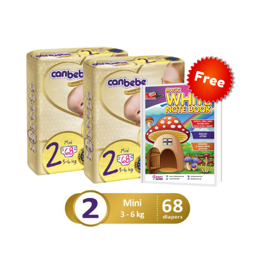Pack of 3 – Twin Bundle Canbebe Premium Small Size 2 – Mini – 68 Pcs with FREE Magic White Notebook