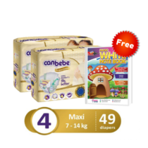 Pack of 3 Canbebe premium baby diaper maxi large size 4 - 49 pcs with Free magic white notebook