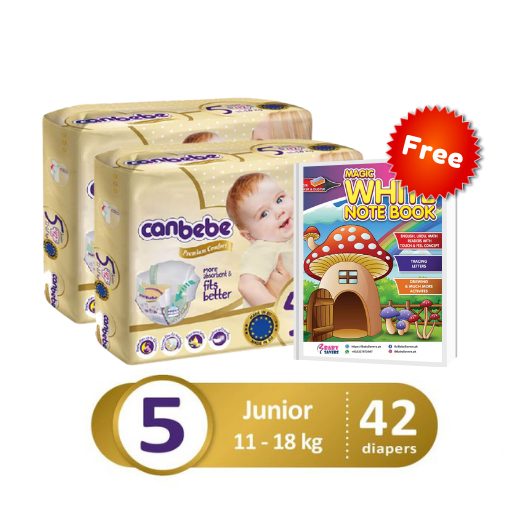 Pack of 3 – Twin Bundle Canbebe Premium Junior Size 5 – XL – 42 Pcs with FREE Magic White Notebook