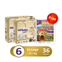 Pack of 3 Canbebe premium baby diaper xxl size 6 xxlarge 36 pcs with Free magic white notebook