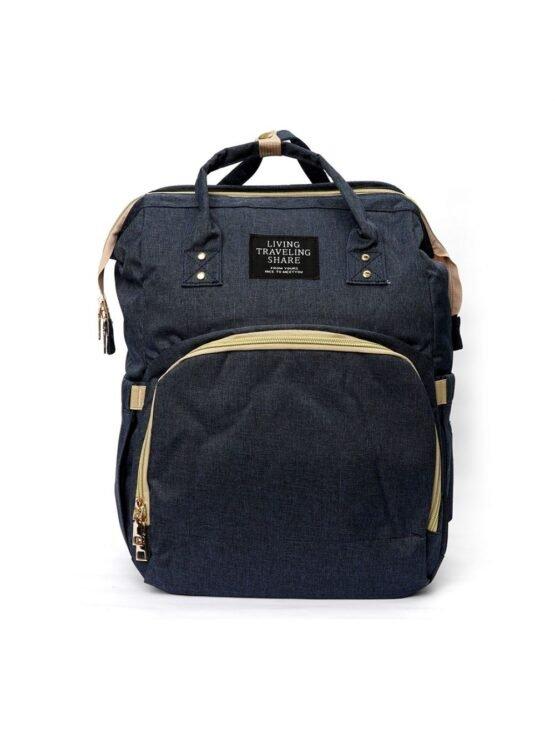 4 in 1 Multi purpose Baby Diaper Bag (Waterproof) with Portable Bed – Black