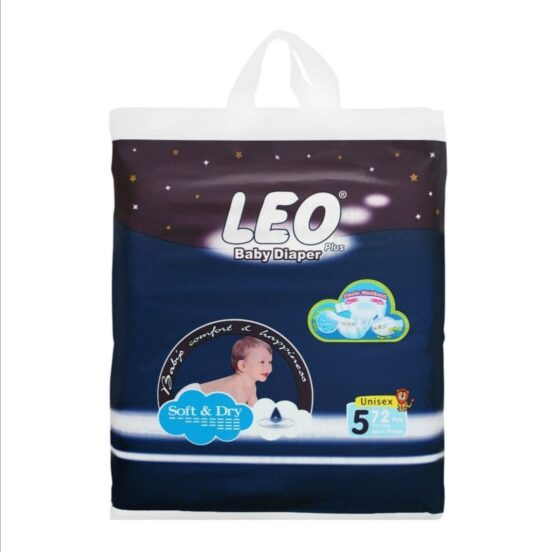 Leo Plus Baby Diaper Jumbo Pack Size 5 XL Extra Large XLarge 72 Diapers Mega Blue Pack