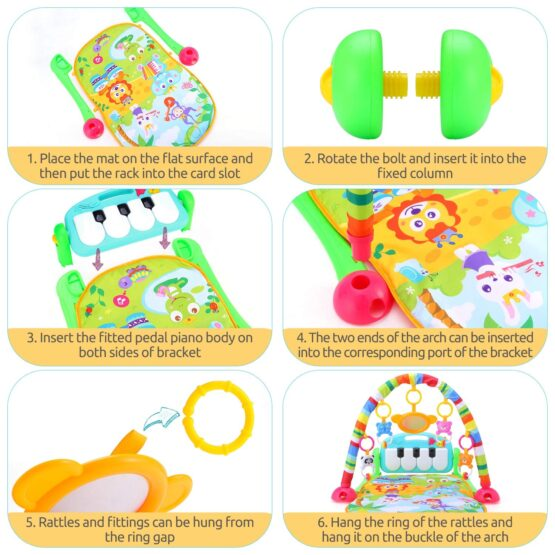 Baby Play Gym Piano Fitness Rack Mat-14