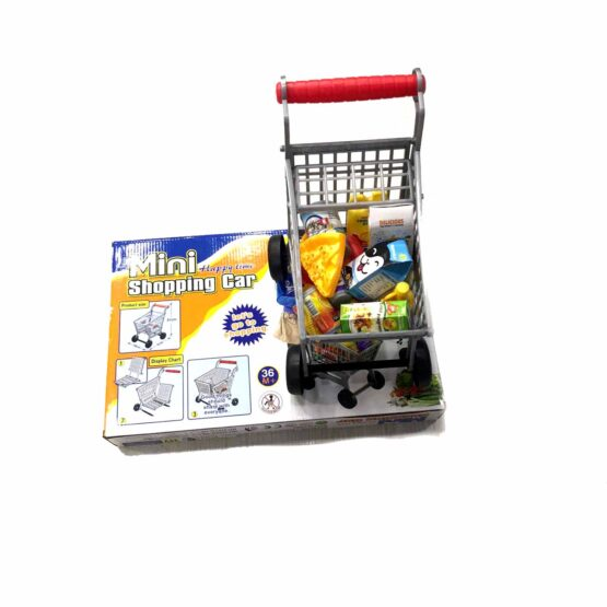 Happy Mini Shopping Cart/Trolley With Full Grocery Food Toy Play Set For Kids (ZD588-5)