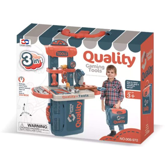 3 in 1 Tool play set east to carry 20 inches. Suitable for 3 years and up. All the necessary items required in the tool box are included.