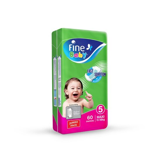 Fine Baby Diapers, No. 5, Maxi 11-18 KG, Jumbo Pack, 60-Pack