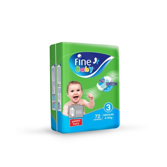 Fine Baby Diapers, Size 3, Medium 4–9kg, Jumbo pack of 72 diapers